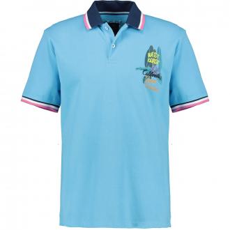 Strukturiertes Poloshirt mit sommerlichem Brustprint türkis_2254 | 3XL