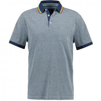 Meliertes Poloshirt mit Brusttasche graublau_213 | 3XL