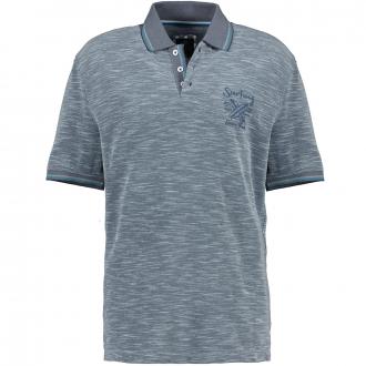 Meliertes Poloshirt mit farbigen Akzenten graublau_213 | 5XL
