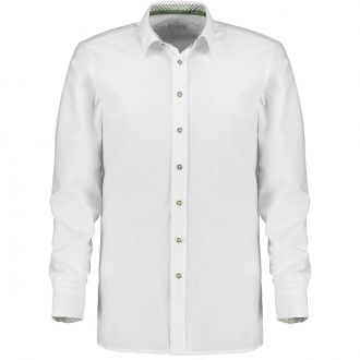 Baumwoll-Trachtenhemd, langarm weiß_00 | 3XL
