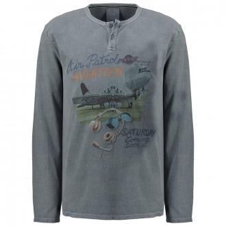 Langarmshirt im Vintagelook blau_2246 | 7XL