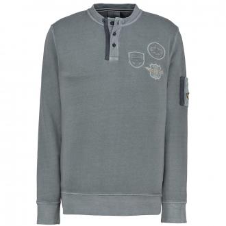 Sweatshirt mit Aufnähern und Ärmeltasche grau_2246/30 | 3XL