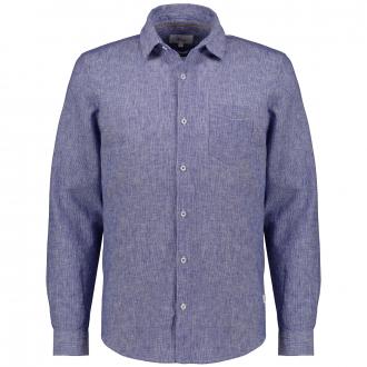 Freizeithemd aus Baumwoll-Leinenmix, langarm blau_56K1 | 3XL