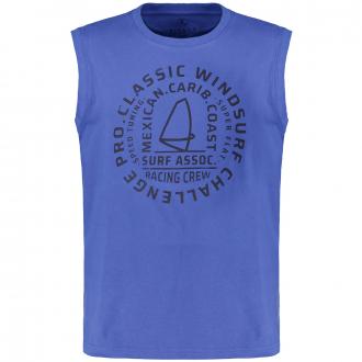 Ärmelloses T-Shirt mit Print mittelblau_10704/41 | 3XL