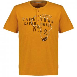 T-Shirt mit Serafino-Kragen und Print, kurzarm orange_10205   3XL