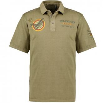 Poloshirt im Safari-Style, kurzarm oliv_10606/65 | 3XL