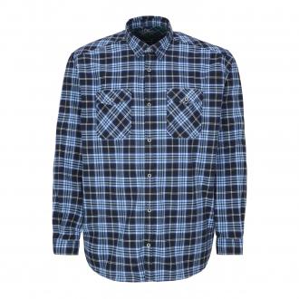 Kariertes Freizeithemd mit Stretch-Anteil, langarm dunkelblau_59N5 | 3XL