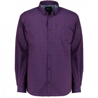 Karo-Freizeithemd mit Button-Down Kragen dunkelblau_59N2 | 3XL