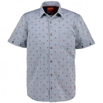 Freizeithemd in Leinenoptik und floralem Muster, kurzarm blau_56K1 | 3XL