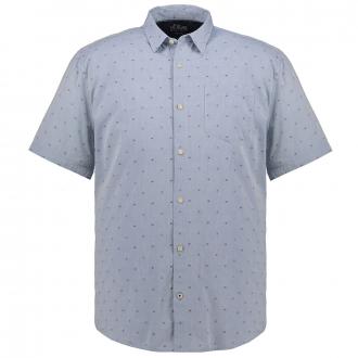 Freizeithemd mit Musterstruktur, kurzarm hellblau_53K1 | 3XL