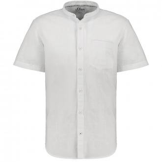 Leichtes Leinen-Freizeithemd mit Stehkragen kurzarm weiß_0100   3XL