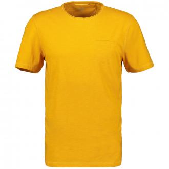 Schlichtes T-Shirt mit Brusttasche, kurzarm gelb_62 | 3XL
