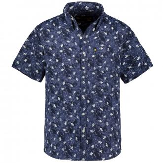 Baumwoll-Freizeithemd mit Raketen-Print, kurzarm dunkelblau_DUNKELBLAU   3XL