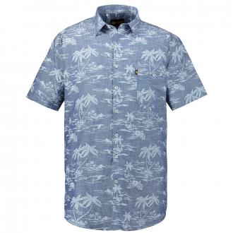 Kurzarmhemd mit Palmenprint blau/weiß_BLAU/WEIß | 3XL
