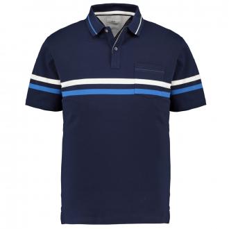 Poloshirt mit Kontraststreifen in 4-Wege-Stretch-Qualität, kurzarm dunkelblau_23/400 | 3XL