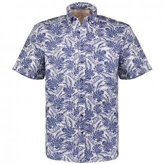 Freizeithemd aus Leinenmix mit Allover-Print, kurzarm blau_18   46
