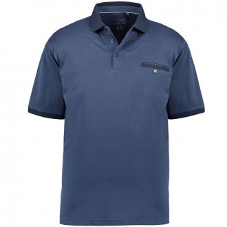Meliertes Poloshirt mit Kontrastdetails, kurzarm dunkelblau_609   3XL