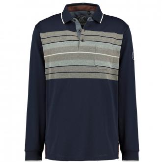 Poloshirt mit Streifenprint in stayfresh-Qualität dunkelblau_609   4XL