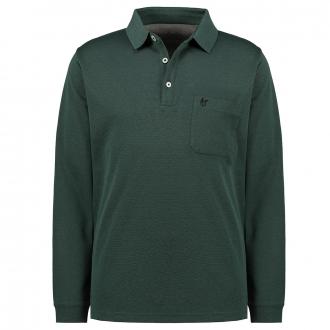 Poloshirt in softknit-Qualität, langarm dunkelgrün_515 | 3XL