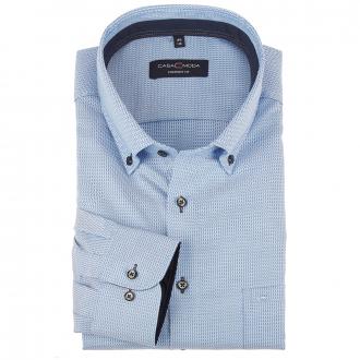 Cityhemd mit Hahnentrittmuster und Button-Down-Kragen, langarm blau_100   46L72