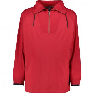 Leichtes Sweatshirt mit Troyerkragen rot_3660   3XL