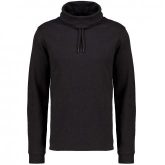 Sweatshirt mit Schalkragen und Kordelzug schwarz_99W0 | 3XL