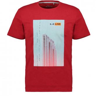 Baumwoll-T-Shirt mit Frontprint rot_3185 | 3XL