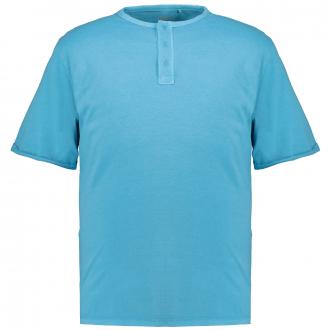 Lässiges T-Shirt mit Henleykragen türkis_6242 | 3XL