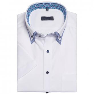 Fein strukturiertes Cityhemd mit trendigem Doppelkragen, kurzarm weiß_00   48