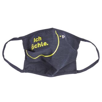 Wiederverwendbar Behelfsmaske aus Funktionsfaser mit Statement-Print, extragroß marine_139 | One Size