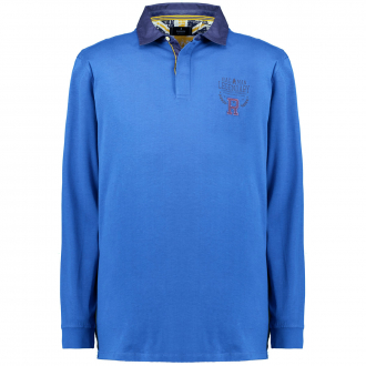 Langärmliges Jersey-Poloshirt blau_787   3XL