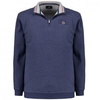 Sportives Sweatshirt mit Troyerkragen dunkelblau_079 | 3XL