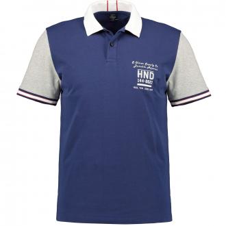 Baumwoll-Poloshirt mit Applikationen dunkelblau_5670/400 | 3XL