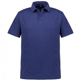 Poloshirt in Flammgarn-Optik, kurzarm dunkelblau_56W0 | 3XL
