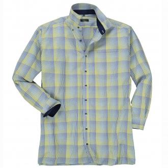 Schickes Freizeithemd mit Minimalkaromuster, langarm blau/grün_44/1 | 48