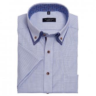 Kariertes Cityhemd mit kontrastfarbenem Doppelkragen, kurzarm blau/weiß_12/4020   47