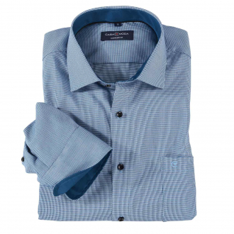 Leicht strukturiertes City-Hemd, langarm blau/grau_150   XXL