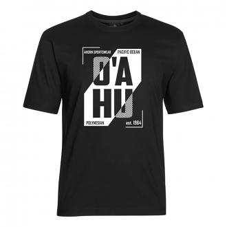 "T-Shirt mit gummiertem ""O`AHU""-Print schwarz_77 | 5XL"