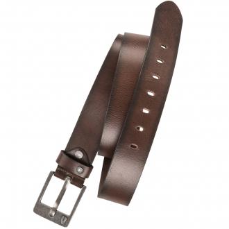 Breiter Ledergürtel mit Logoschnalle dunkelbraun_20 | 110