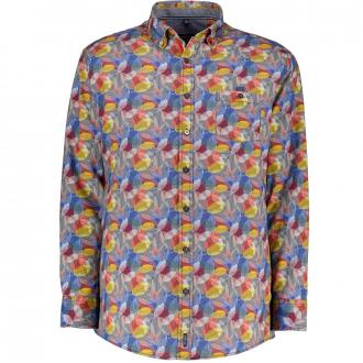 Freizeithemd mit dekorativem Blattmuster blau/gelb_100/4070   XXL