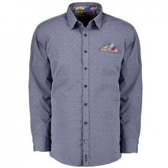 Gepunktetes Freizeithemd graublau_100/39 | 3XL