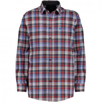 Weiches Flanellhemd in angesagtem Karomuster, Comfort Fit anthrazit/rot_750/3550 | XXL