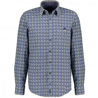 Freizeithemd mit Allover-Print, langarm blau/grün_300/4060 | XXL