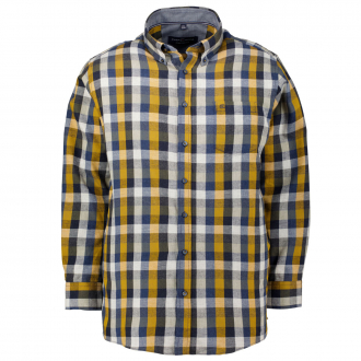 Kuscheliges Flanellhemd in Blockkaro, Comfort Fit blau/gelb_500/4070 | 3XL