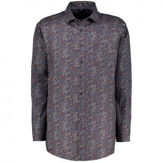 Freizeithemd mit floralem Allover-Print blau/anthrazit_750/4035 | 3XL