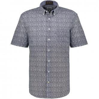 Freizeithemd mit graphischem Allover-Print, kurzarm blau/weiß_49/4020 | XXL