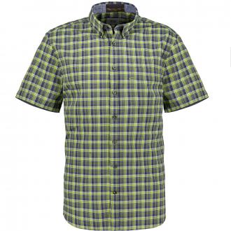 Freizeithemd aus Twill mit Karomuster, kurzarm blau/grün_35/4060 | 5XL