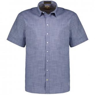 Strukturiertes Baumwollhemd, kurzarm blau_46   XXL