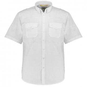 Sommerliches Kurzarmhemd in Leinenoptik weiß_01 | 3XL