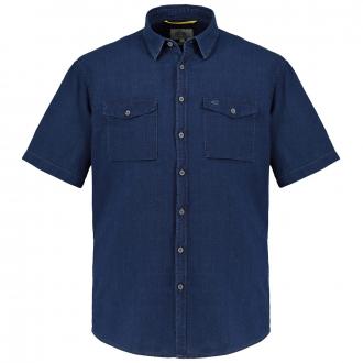 Sportliches Freizeithemd in Jeansoptik, kurzarm dunkelblau_19 | 3XL